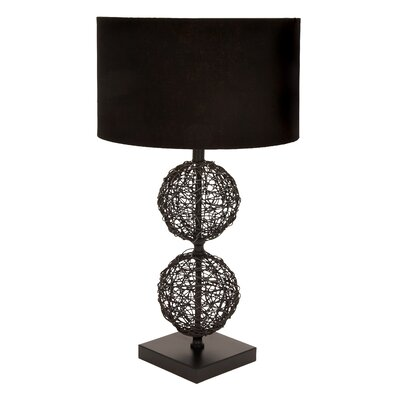 """Woodland Imports Unique Rattan 30"""" H Table Lamp with Drum Shade"""