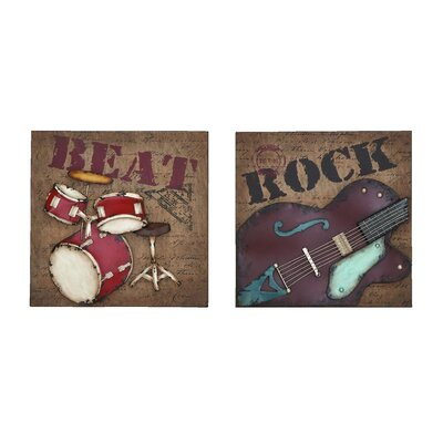 Woodland Imports 2 Piece Décor Rock and Roll Wall Décor Set