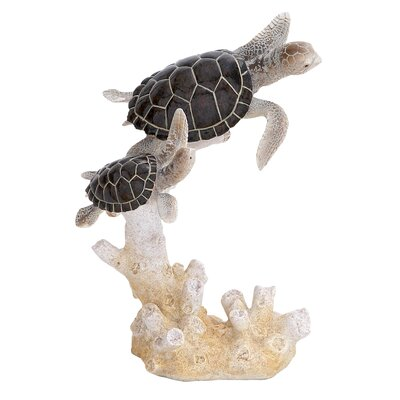 Woodland Imports Table Top Polystone Turtles Statue