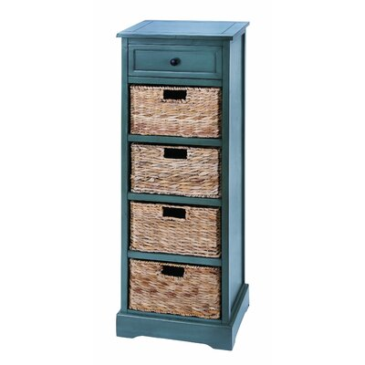 Woodland Imports Cabinet with 4 Wicker Basket Chest
