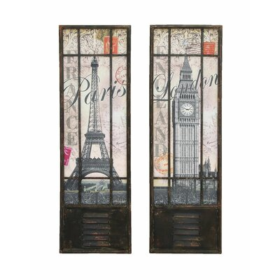 Woodland Imports London and Paris Tourist Destinations Wall Art (Set of 2)