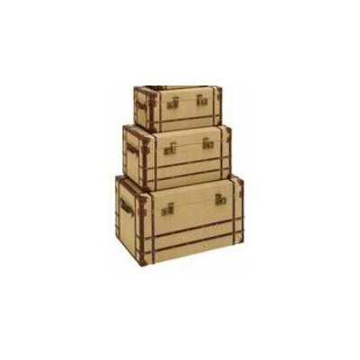 Woodland Imports Travel Steamer Trunk (Set of 3)