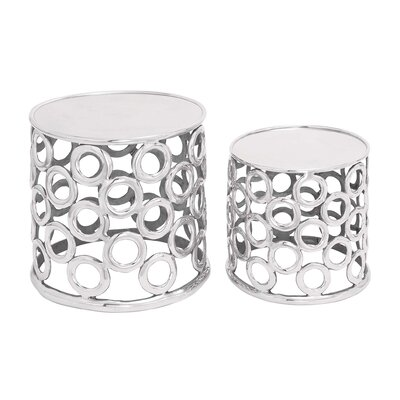 Woodland Imports Aluminum Stool (Set of 2)