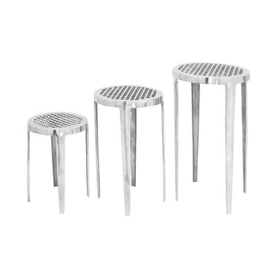 Woodland Imports Aluminum Pedestal (Set of 3)