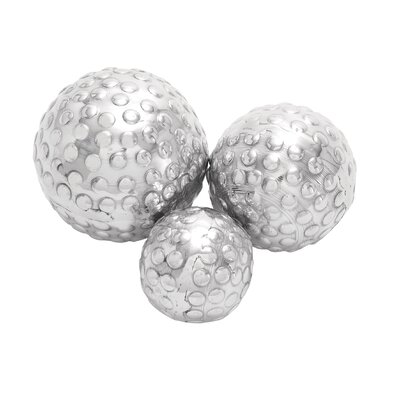 Woodland Imports Décor 3 Piece Shiny Aluminum Decorative Ball Set