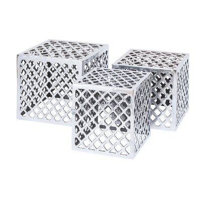 Woodland Imports Metal Stool (Set of 3)