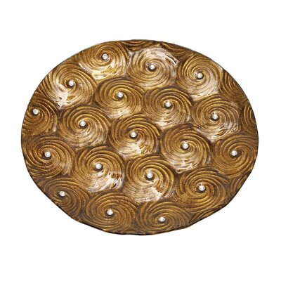 "Woodland Imports Beautiful 13"" Glass Charger Plate with Abstract Design"