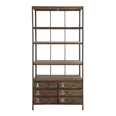 Woodland Imports Wood Shelf with 6 Drawers