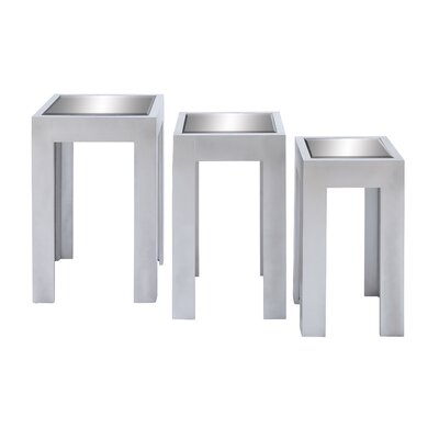 Woodland Imports Mirror Stool (Set of 3)