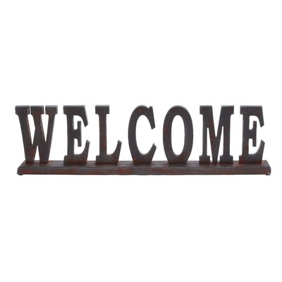 "Woodland Imports Table Top ""Welcome"" Statue"