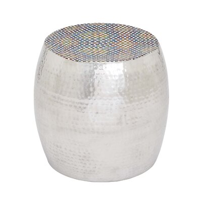Metal Drum Stool with Vibrant Dotted Seat Design