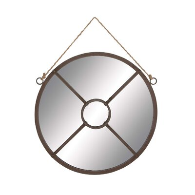 Round Metal Wall Hanging Mirror with Rope Attachment