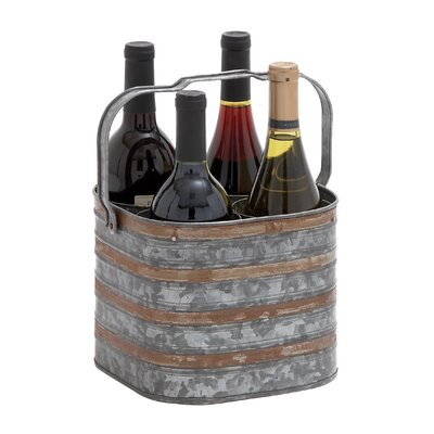 Rustic Metal 4 Bottle Holder