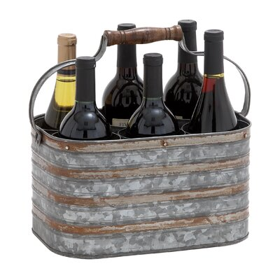 Woodland Imports Rustic Metal Galvanize 6 Bottle Holder