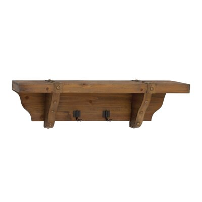 woodland imports wood wall shelf with metal hooks. Black Bedroom Furniture Sets. Home Design Ideas