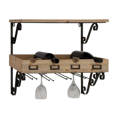 4 Bottle Metal and Wood Wall Mounted Wine Rack