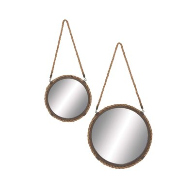 2 Piece Solar Styled Metal Frame Mirror Set