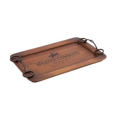 Woodland Imports Cowboy Themed Wood and Metal Serving Tray