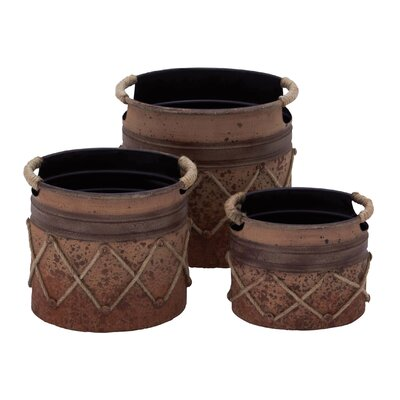 3 Piece Round Pot Planter Set