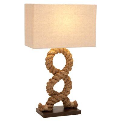 Metal and Wood Rope Pier Table Lamp