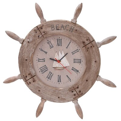 Woodland Imports Wood Ship Wheel Clock
