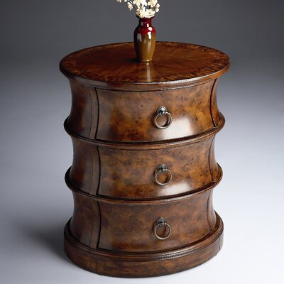 Classic Burl Oval Drum End Table