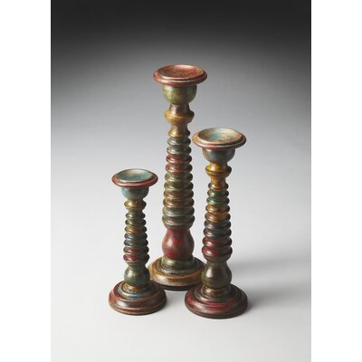 Butler Hors D'oeuvres 3 Piece Spectrum Carved Wood Candle Holders Set (Set of 3)