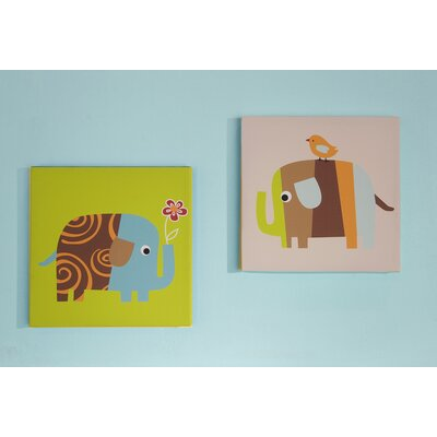 Zutano Elephants 2 Piece Canvas Wall Art