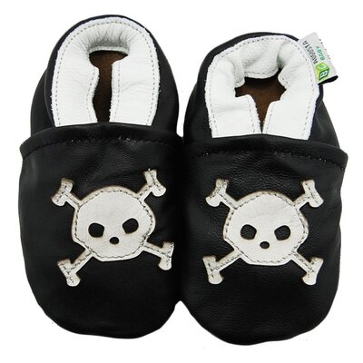 Skull and Crossbones Soft Sole Leather Baby Shoes