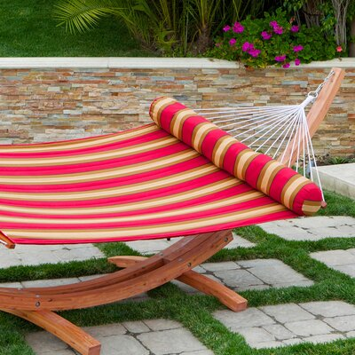 RST Outdoor Cantina Striped Quilted Hammock with Bolster Pillow and Stand