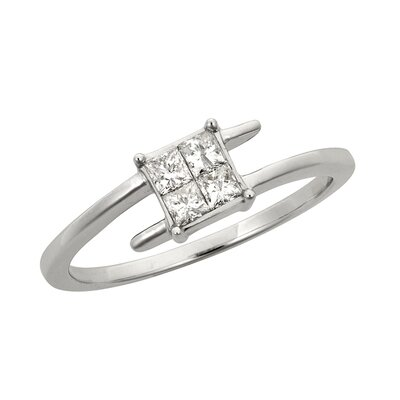 14k White Gold 1/3ct TDW Princess Diamond Engagement Ring