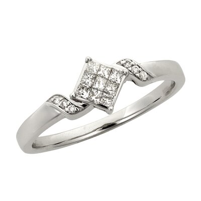 A Jewelers 14k White Gold 1/4ct TDW Princess Diamond Engagement Ring