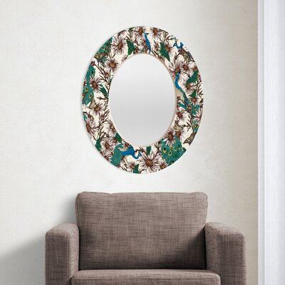 DENY Designs Belle13 Butterflies in My Peacock Garden Oval Mirror