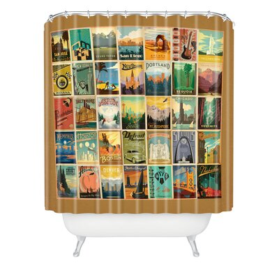 DENY Designs Anderson Design Group Woven Polyester City Pattern Border Shower Curtain