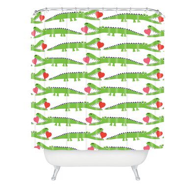 DENY Designs Andi Bird Woven Polyester Alligator Love Shower Curtain