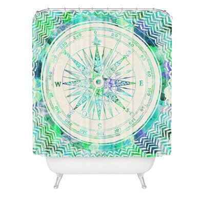 DENY Designs Bianca Polyester Follow Your Own Path Mint Shower Curtain