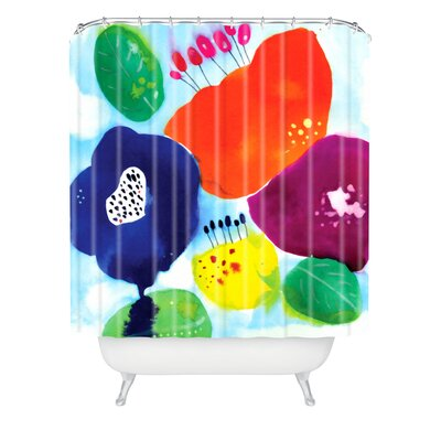 DENY Designs Cayena Blanca Big Flowers Polyester Shower Curtain