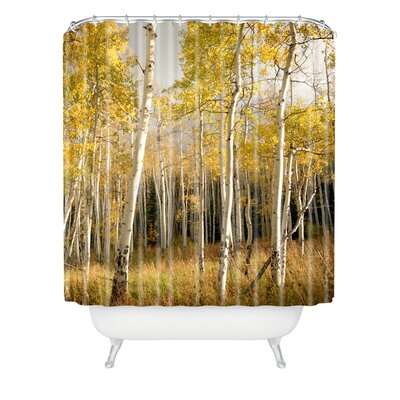 DENY Designs Bird Wanna Whistle Woven Polyester Aspen Shower Curtain