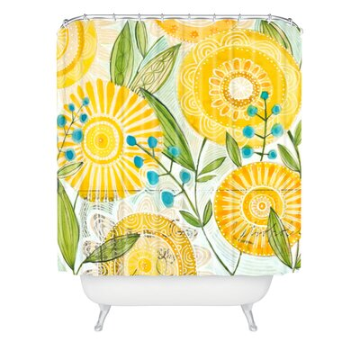 Cori Dantini Sun Burst Flowers Polyester Shower Curtain