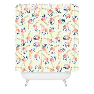 DENY Designs Jacqueline Maldonado Woven Polyester Watercolor Giraffe Shower Curtain