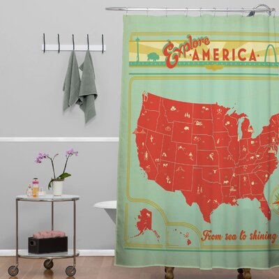 DENY Designs Anderson Design Group Woven Polyester Explore America Shower Curtain