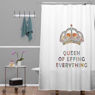 DENY Designs Bianca Woven Polyester Her Daily Motivation Shower Curtain