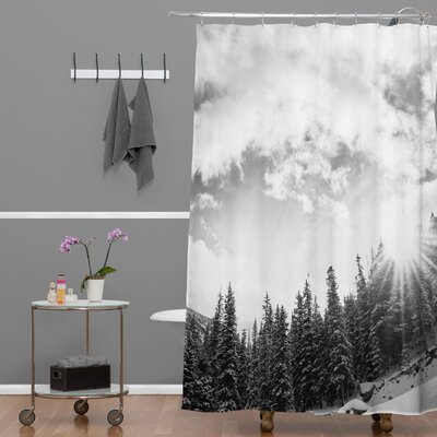 DENY Designs Bird Wanna Whistle Woven Polyester White Mountain Shower Curtain