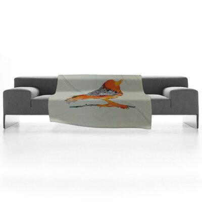 DENY Designs Iveta Abolina Orange Bird Fleece Throw Blanket