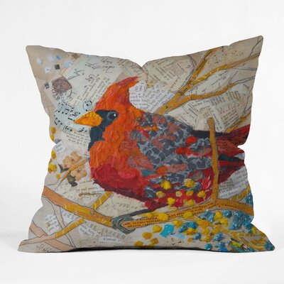 Elizabeth St Hilaire Nelson Cardinal on White Polyester Throw Pillow
