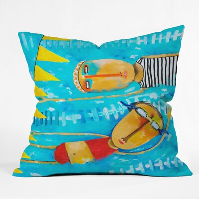 DENY Designs Robin Faye Gates Polyester Swimming Is Hard Indoor / Outdoor Throw Pillow