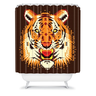 DENY Designs Chobopop Geometric Polyester Tiger Shower Curtain