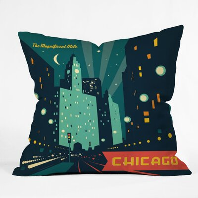 DENY Designs Anderson Design Group Chicago Mag Mile Polyester Throw Pillow