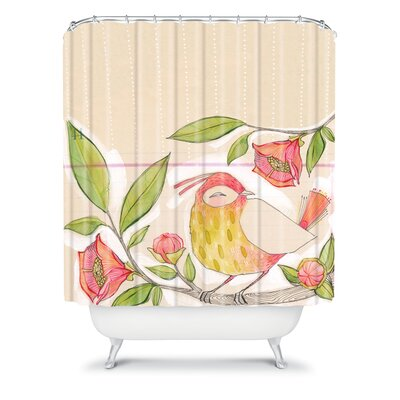 DENY Designs Cori Dantini Woven Polyester Little Bird On A Flowery Branch Shower Curtain