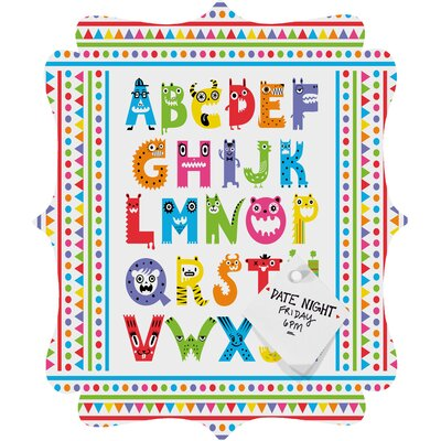 DENY Designs Andi Bird Alphabet Monsters Quatrefoil Magnet Board